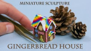 Polymer Clay Christmas Tutorial : Miniature Gingerbread House // Speed Sculpting