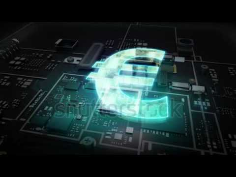 Cpu on hologram Euro sign, Euro currency, Digital financial economic market concept.