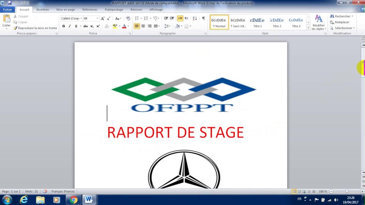 Ofppt Rapport De Stage De Tremoa 2 ére