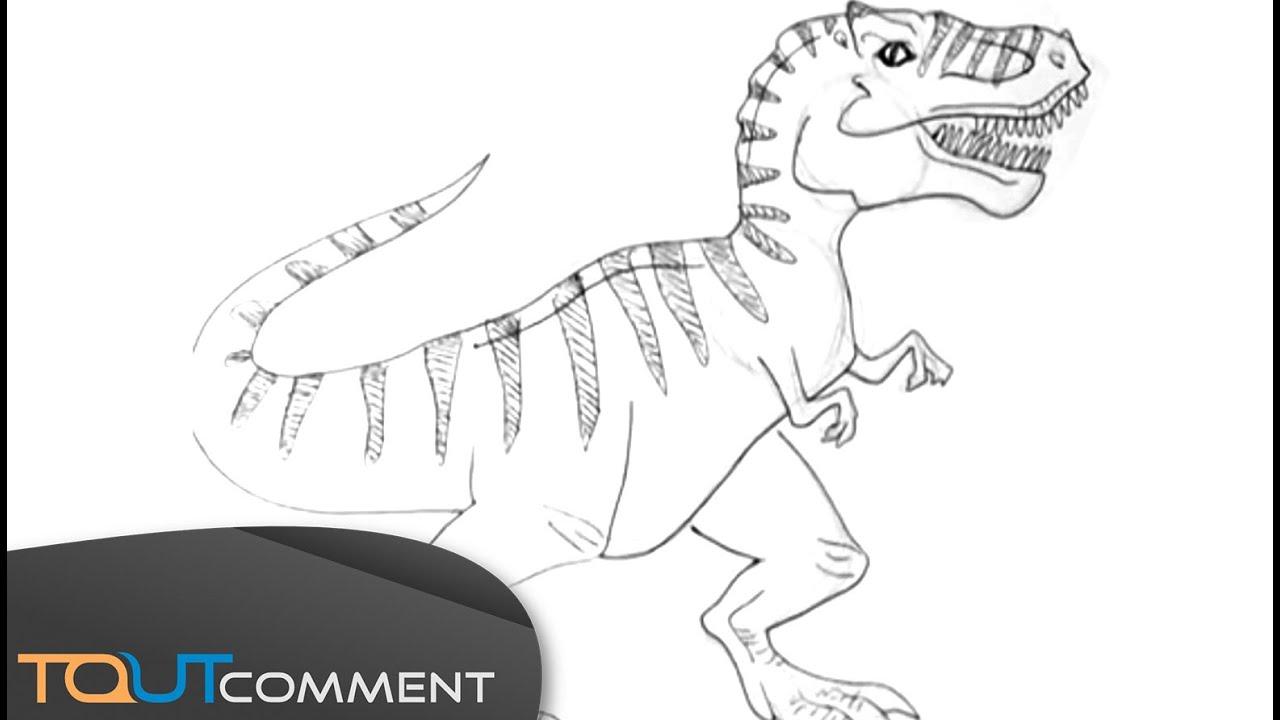 Dessiner un dinosaure tyrannosaurus rex t rex youtube - Modele dessin dinosaure ...