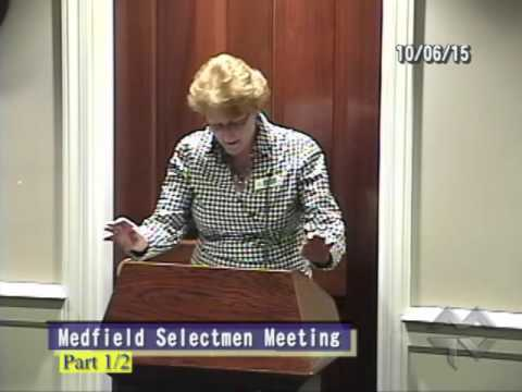 Medfield Selectmen (10-06-2015):  Library Activities, Projects, Plans; Old Business