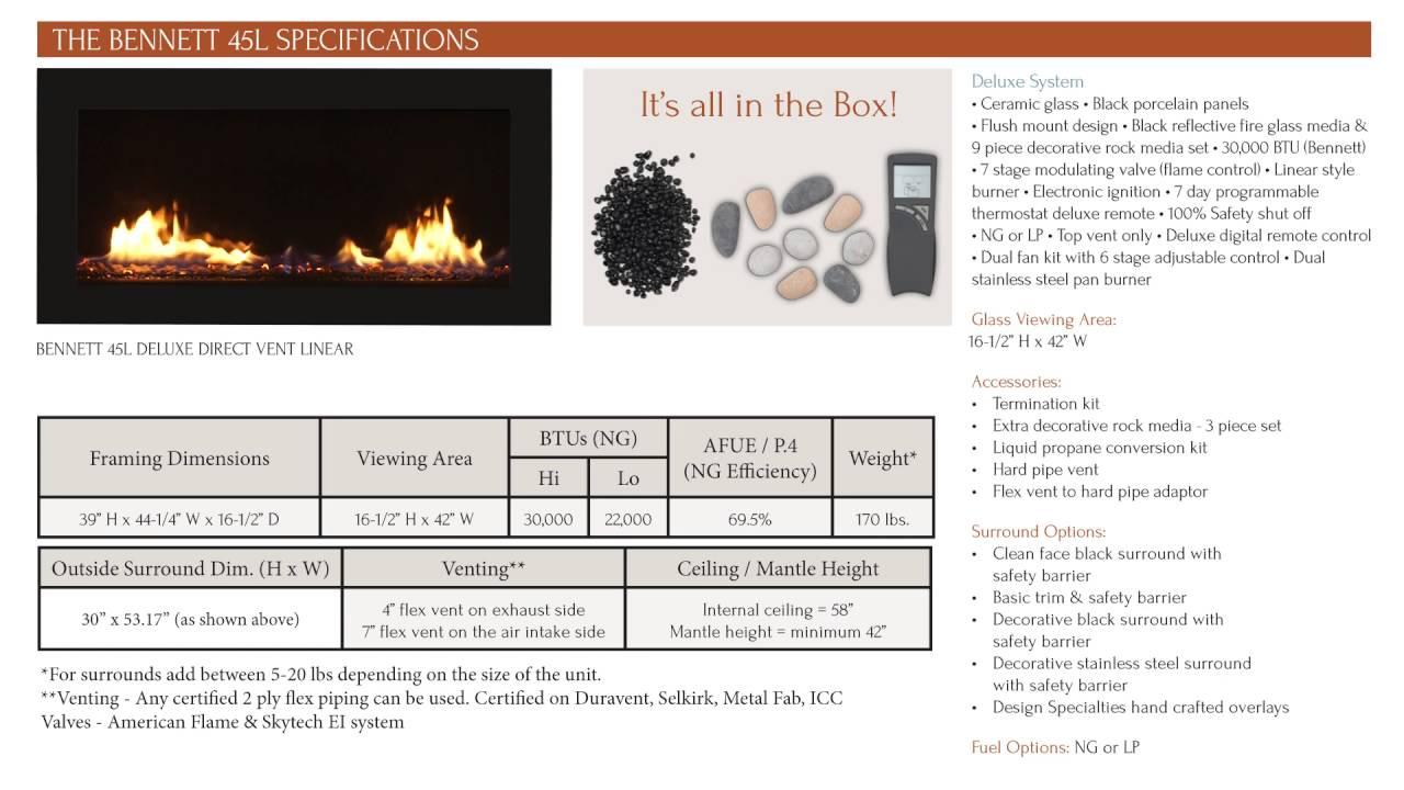 sierra flame the bennett 45 u2013 direct vent linear gas fireplace