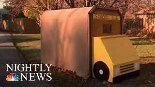Neighbor Builds School Bus Shelter For Boy With Autism | NBC Nightly News
