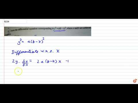Form the differential equation corresponding to `y^2 = a (b-x)^2`, where a and b are arbitary ...