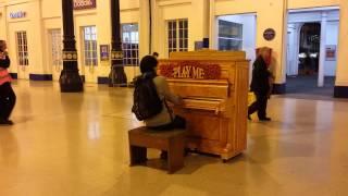 """""""Play Me"""" piano at Brighton Station."""