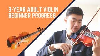 Adult violin beginner 3 years progress video