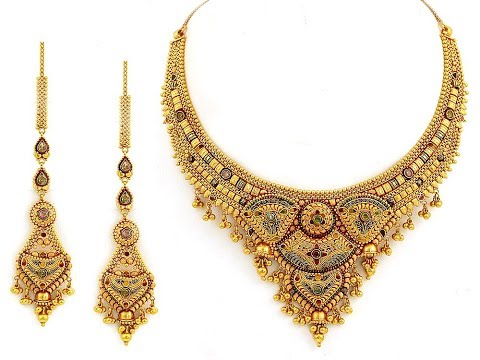 stylish-multi-colour-stones-gold-necklace-designs-||-latest-model-gold-necklace-stone-work-designer