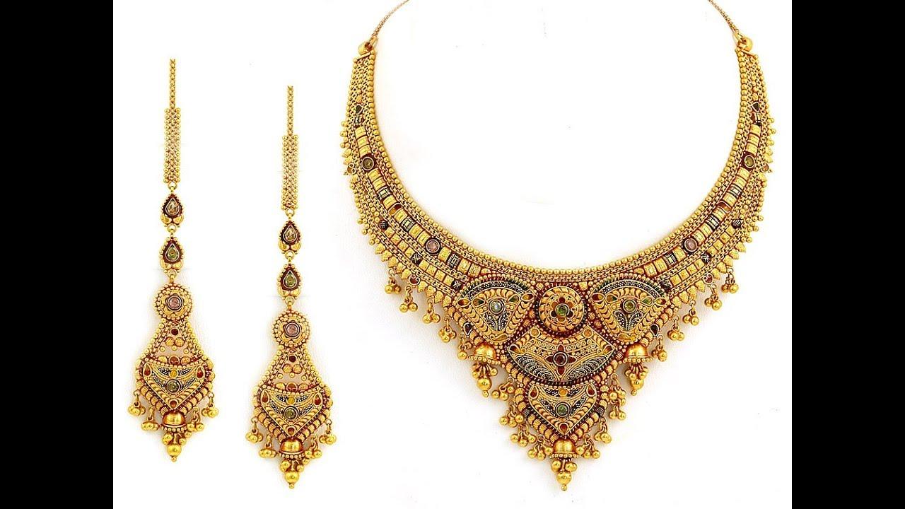 Stylish Multi Colour Stones Gold Necklace Designs || Latest model ...