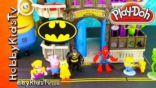 PLAY-DOH Batman, Spiderman COMPETITION! Gotham Jail Story- Bad Guys PART 1