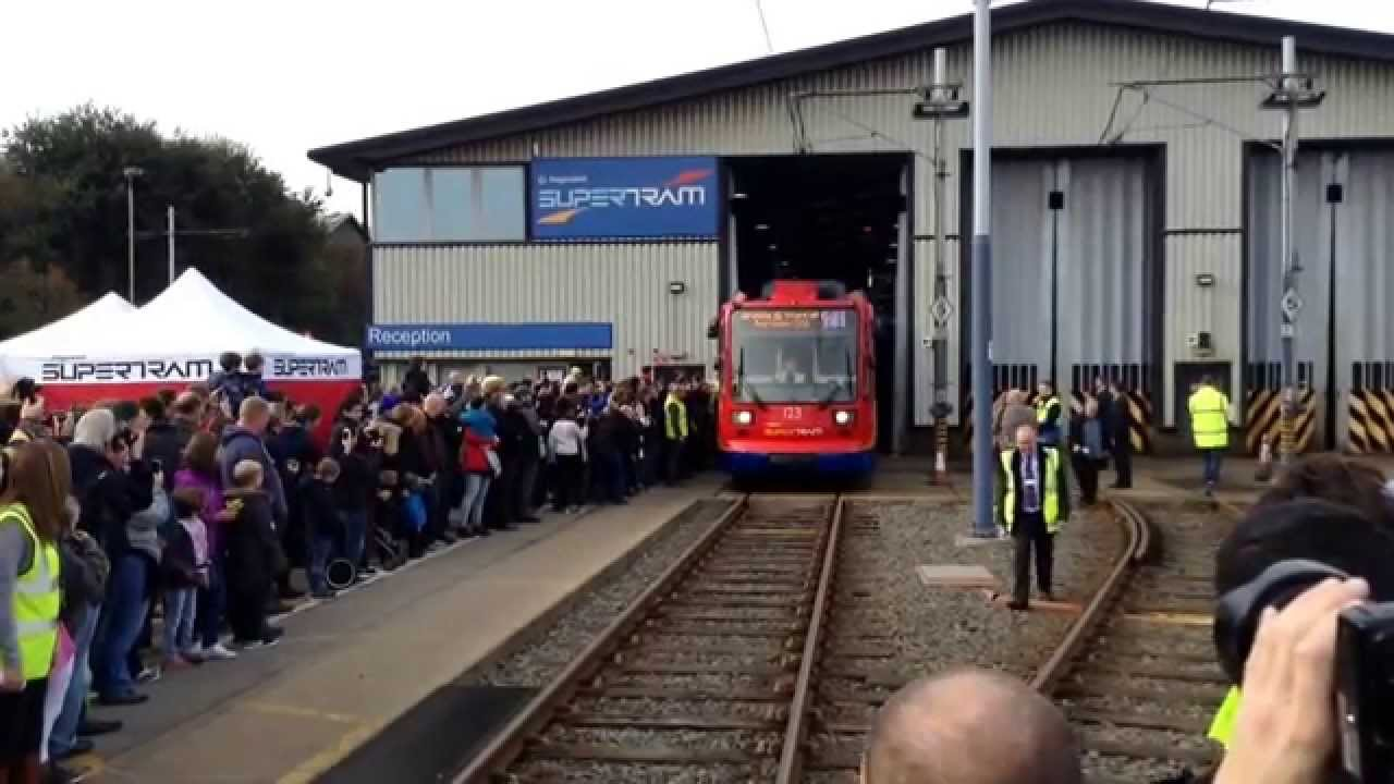 Stagecoach Sheffield SuperTram Opening Day Tram 123 Coming Out ...
