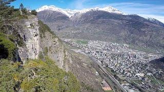 Flug hoch über Visp Wallis Schweiz Switzerland