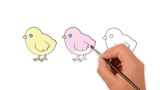 Learn How to draw baby chicks - How to draw funny cartoons