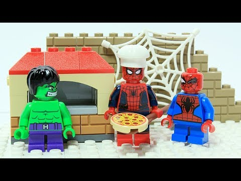 Lego Spider-man Brick Building Pizza Oven and Delivery Superheroes Animation