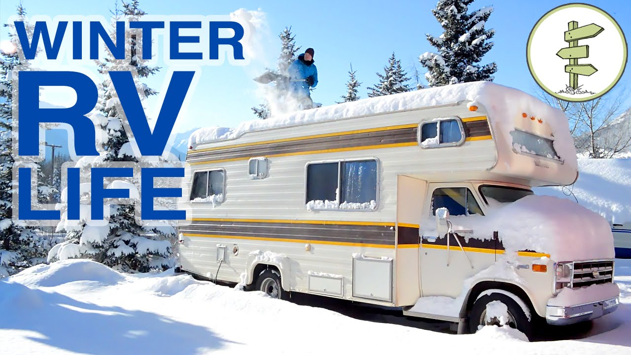couple living in an rv in winter living in a van in. Black Bedroom Furniture Sets. Home Design Ideas