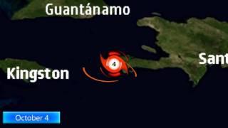 The track of Hurricane Matthew