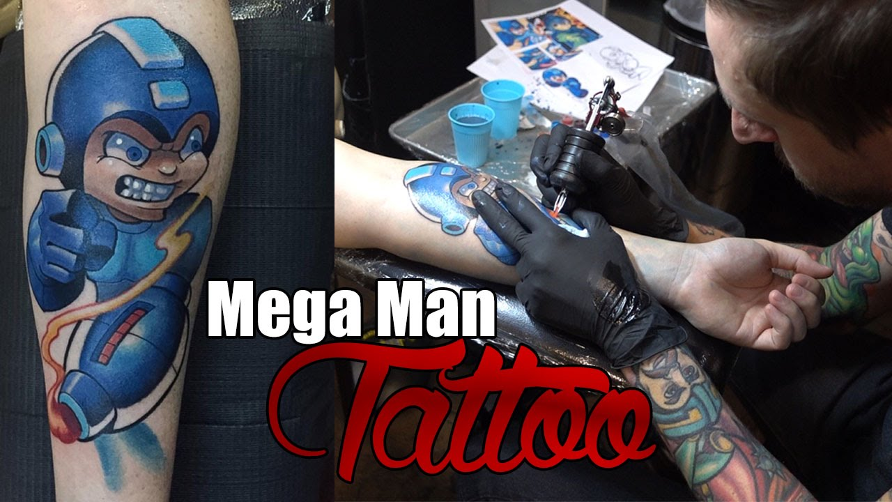 Mega man tattoo vlog the start of my sleeve youtube for Working man tattoo
