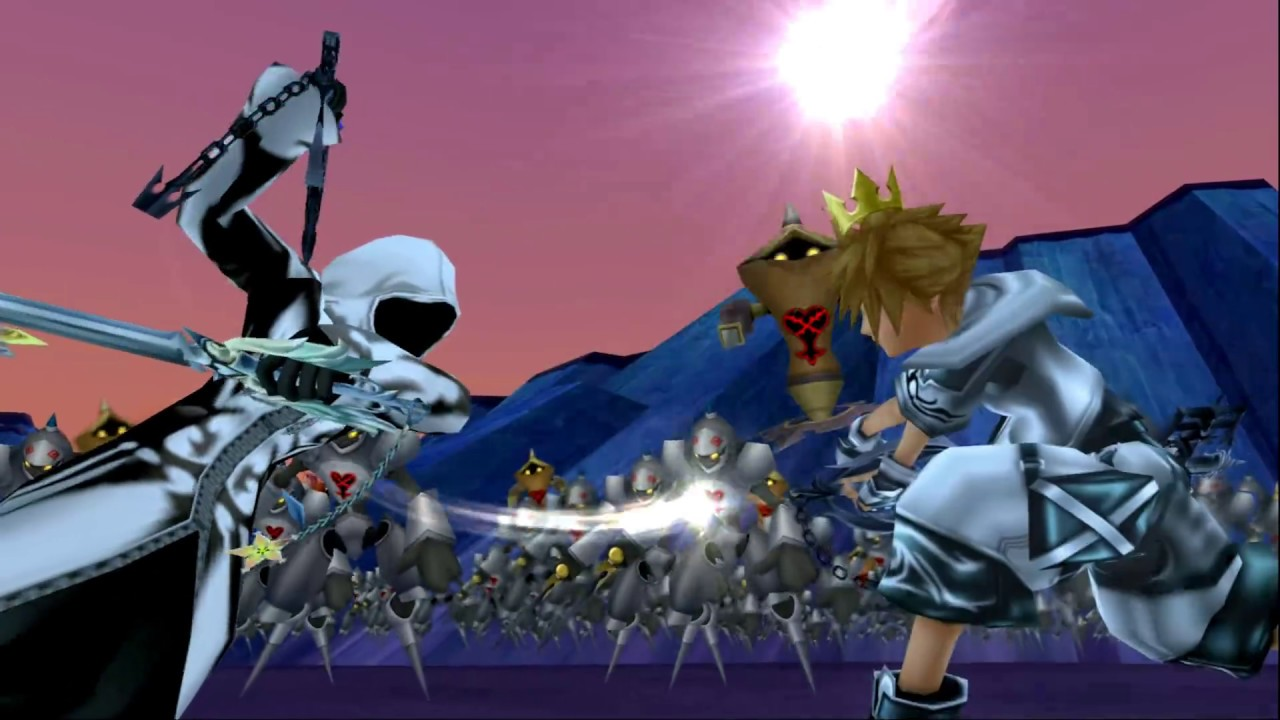 kh2fm ultimate final sora and vengeful roxas vs 1000 heartless