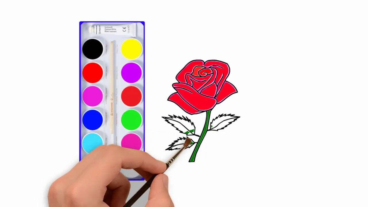 Menggambar Dan Mewarnai Bunga Mawar Merahmewarnai Anak Anak Youtube