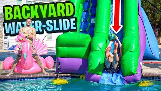 Making a BACKYARD WATER PARK!! **MASSIVE** WATER SLIP N SLIDE