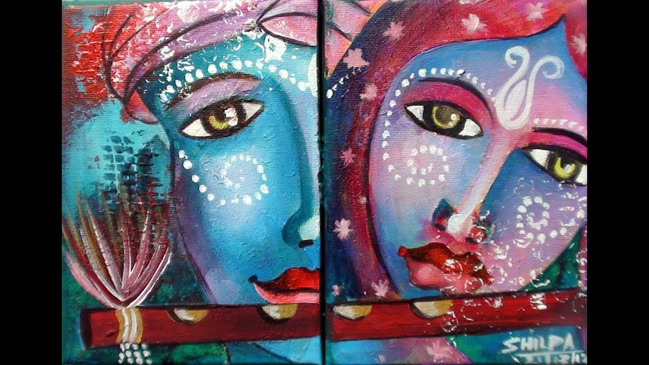 Lord krishna and radha acrylic painting techniques by for Acrylic mural painting techniques