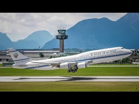 1st VISIT OF A BOEING 747-8i || State of Kuwait Boeing 747-8JK(BBJ) 9K-GAA || Salzburg Airport