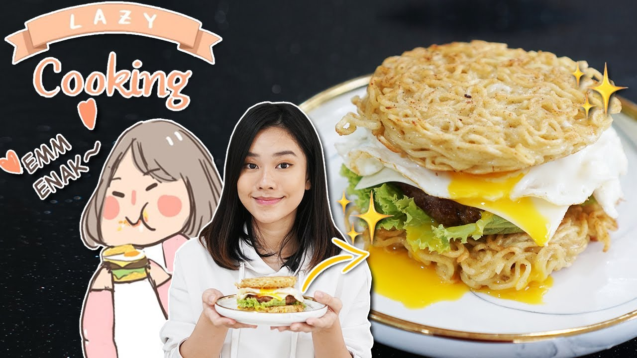 NGIKUTIN RESEP LAZY COOKING - RAMYON HAMBURGER!