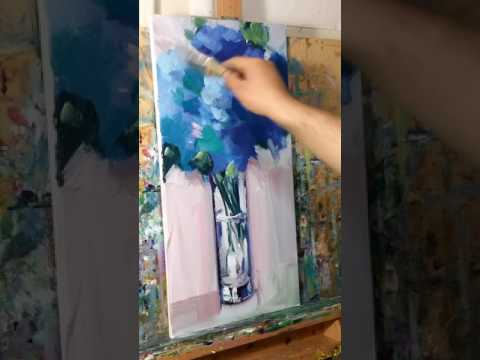 Modern Impressionist Oil Painting Demo with Blue Flowers - A