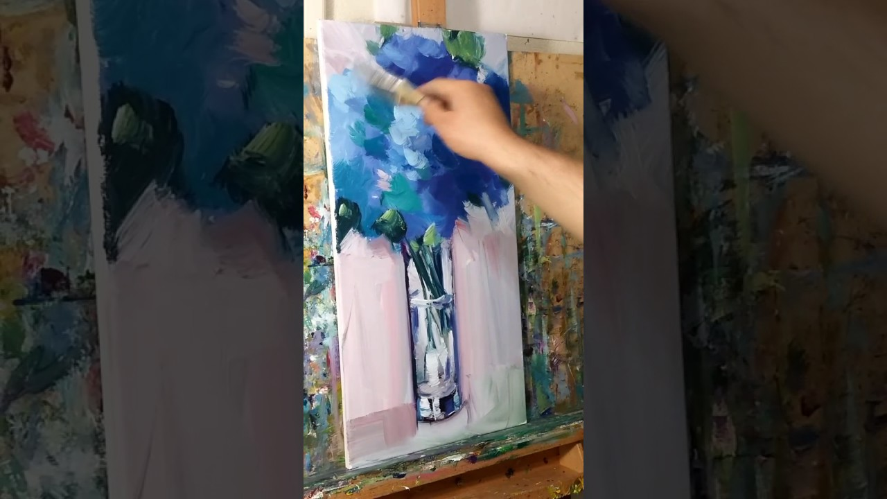 Modern Impressionist Oil Painting Demo With Blue Flowers