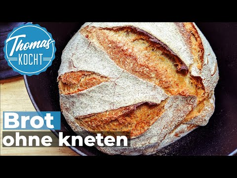 Baking German bread withou kneading / very easy / no knead bread [ENG Subtitles]