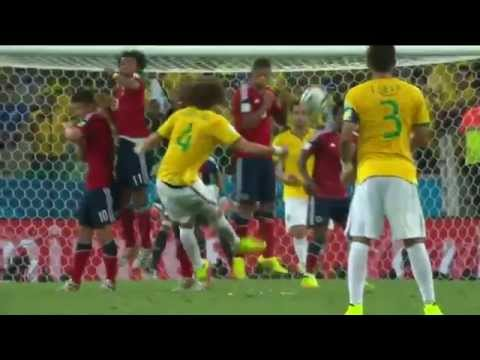 David Luiz Free kick 2014 World Cup Brazil vs Colombia 04 07 2014 HD
