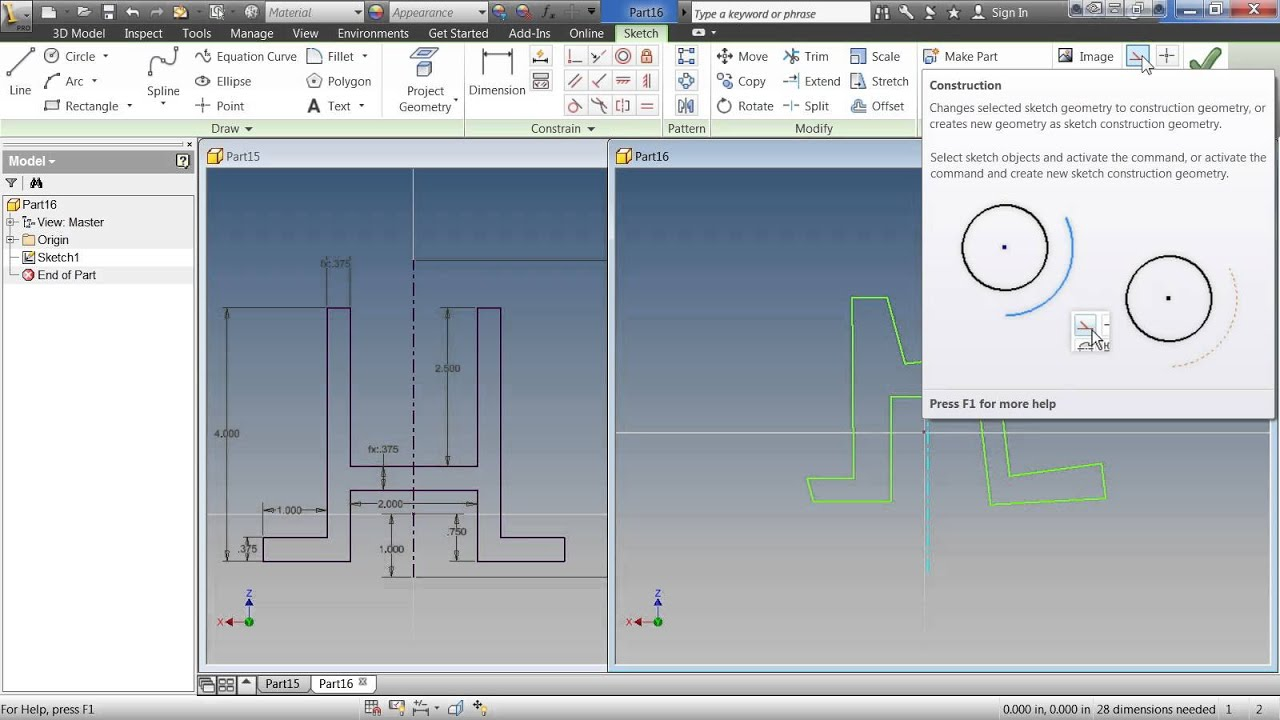 Autodesk Inventor 2013 Tutorial | Creating 2D Sketches - YouTube