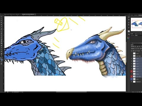 Dragon illustration paint over tips and tricks for making your art realistic and 3d
