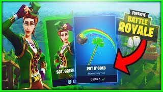 New SGT. GREEN CLOVER Skin & POT O' GOLD Pickaxe in Fortnite! New Fortnite SKINS & Harvesting Tool!