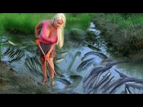 Sexy Women Young Asian Lady Underwear Traditional Fishing in Cambodia How to Catch Fish Sexy Girl