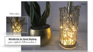 DIY: Wohnidee, Windlicht im Deko Gold Look, Gold Spray Paint, Room Decor, golden bottles / Deko Jana