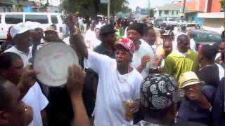 Mardi Gras Indians singing, dancing and celebrating the life of the late Big Chief Lionel Delpit.