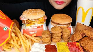 ASMR:EATING MCDONALD'S MCSPICY BURGER,FRIES,CHICKEN NUGGETS,HASHBROWN *EATING SHOW*