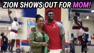 Zion Williamson TURNS UP For Mom On SENIOR NIGHT! Gets Stuffed By Rim!?