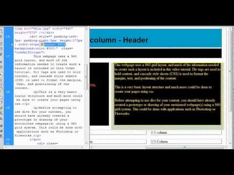 Creating a website in a 960 grid, using div tags and CSS to place and format website content