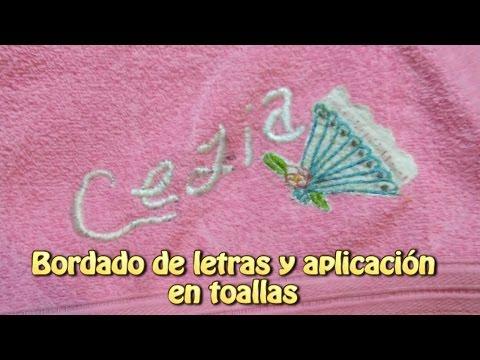 Bordado de letras y aplicacion en toallas  Creaciones y manualidades angeles