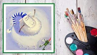Видео урок Рисуем гуашью Новогоднюю овечку вариант №1