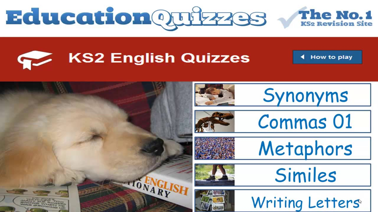 KS2 English Quizzes for School Children in Years 3,4,5 and 6
