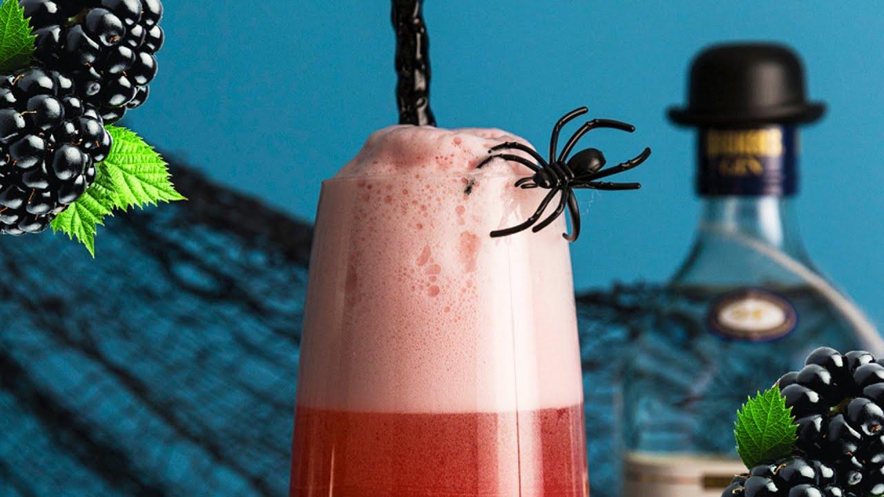 Halloween Cocktail Idea! | Spider Bite Gin Fizz | Berry Gin Fizz #Shorts