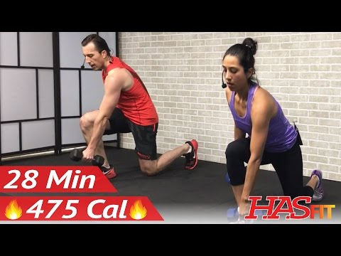 28 Min Total Body Strength Workout with Weights - Strength Training Women Men Home Weight Training