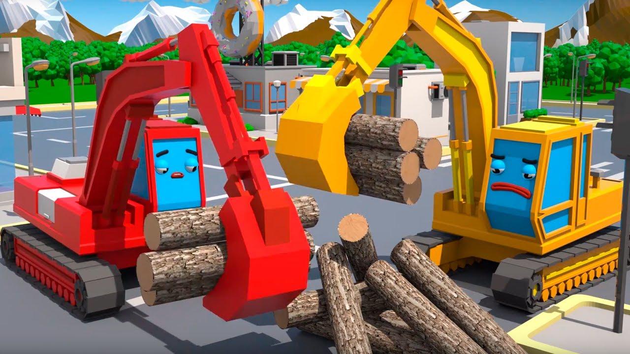 Ekskavatörlerin Yardımseverlik Yarışı - Cars Town - Çocuklar için Çizgi Film