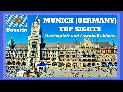 MUNICH Germany TOP SIGHTS # 1 St.Mary's square GLOCKENSPIEL and townhall chimes