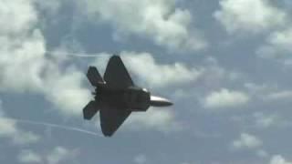 F22 Raptor Dog Strike Fighter plane in action Caution Loud Jet Engines!