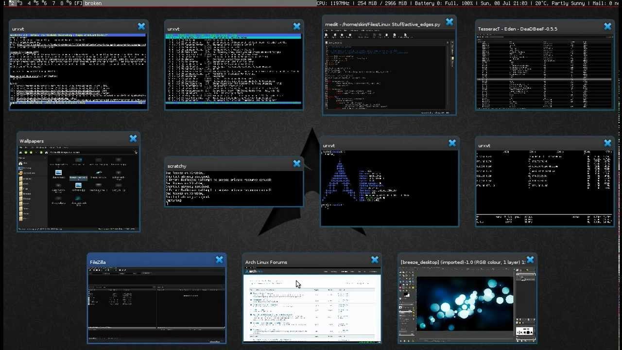 Arch Linux + DWM + Telescope (window switcher)