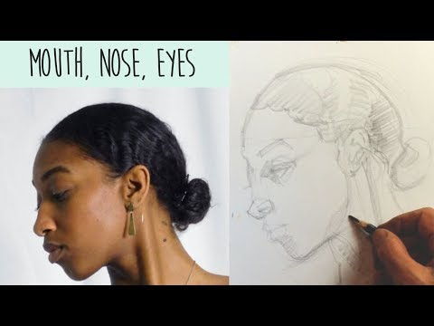Drawing FACES in PROFILE -  how to draw the mouth, nose and eye