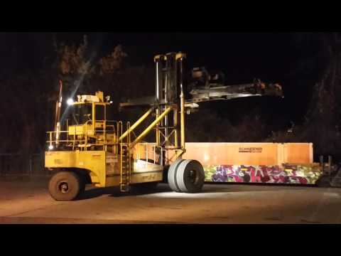 Container crane loading well cars